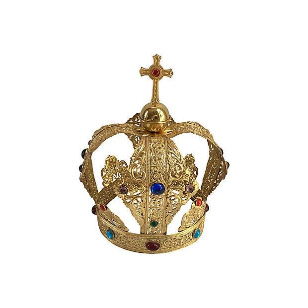 Vintage Brass Filigree Cabochon Crown - Image 5 of 5