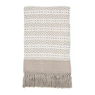 Taupe And White Handwoven Chiapas Throw