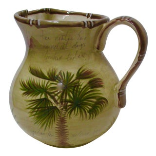 Hand Painted Bora Bora Tiki Palm Tree Tropical Pitcher