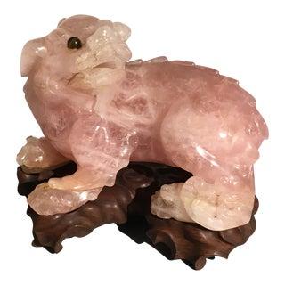 Chinese Carved Rose Quartz Foo Lion, Republic Period, circa 1930