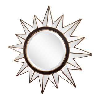 Modern Gold & Black Mirrored Sunburst Beveled Mirror