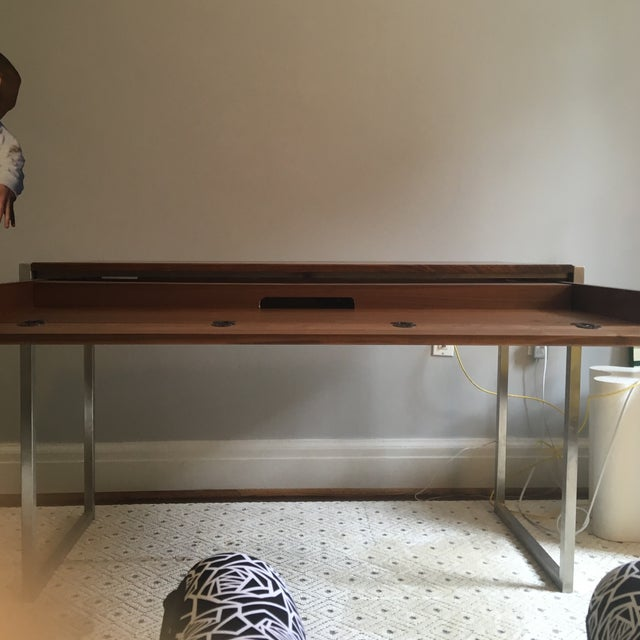Room & Board Basis Walnut & Steel Desk - Image 3 of 5