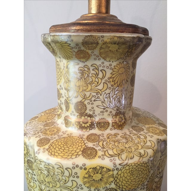 Vintage Yellow Champange Floral Lamp - Image 6 of 7