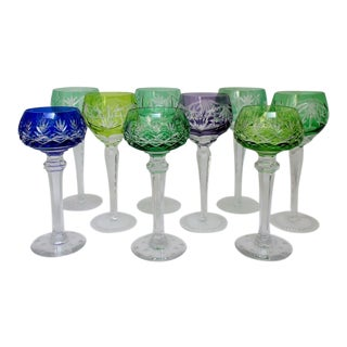 Bohemian Glass Stemware, Set of 9