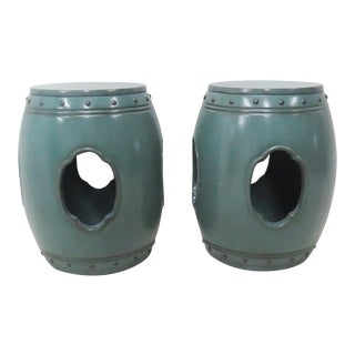 Asian Green Lacquered Garden Stools- A Pair