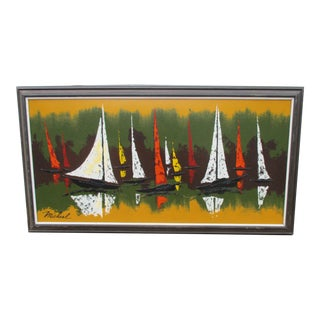 Mid-Century Coastal Sail Boat Painting