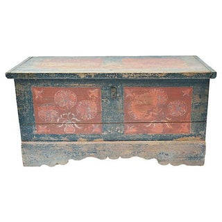 French Polychrome Wood Wedding Chest