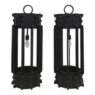 Iron Industrial Lanterns - a Pair