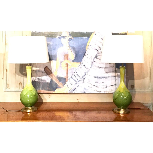 Mid-Century Green Glazed Lamps - A Pair - Image 10 of 10