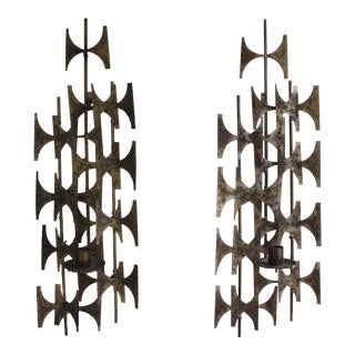 Marc Weinstein Style Brutalist Candle Wall Sconces - a Pair