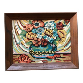 Vintage Paint-by-Numbers Floral Still Life Painting