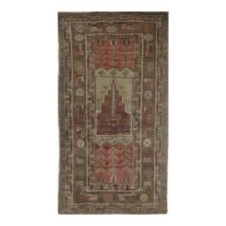 Vintage Turkish Oushak Rug - 3′1″ × 6′2″