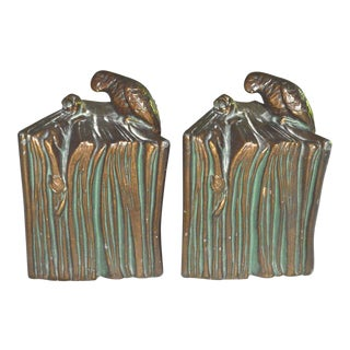 Parrot & Rose on Book Bookends - a Pair