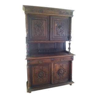 Antique French Oakwood Hunt Cabinet