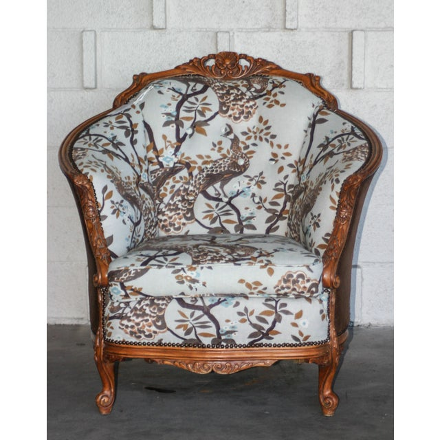 Antique Carved Barrel Chair - Image 4 of 7