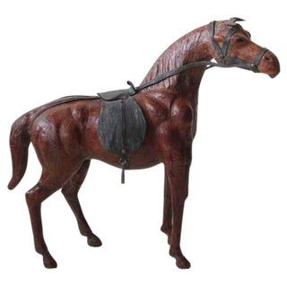 Large Hand Made Leather Horse Figurine