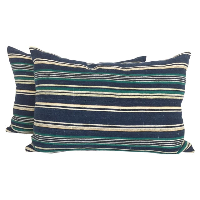 Vintage Indigo Stripe Pillows - Pair - Image 1 of 4