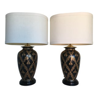European Cloisonne-Style Bee Lamps - a Pair