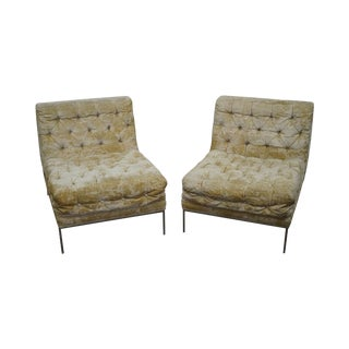 Milo Baughman Mid-Century Tufted Slipper Chairs - A Pair