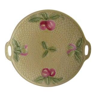 Majolica Yellow Basket Weave Fruit Pattern Ceramic Platter