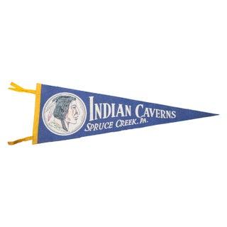 Vintage Indian Caverns Felt Flag