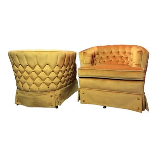 Mid-Century Modern Velvet Club Chairs - a Pair