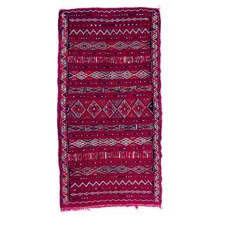 Moroccan Magenta Kilim Rug - 5′3″ × 10′1″