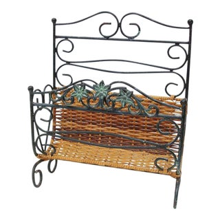 Wrought Iron & Rattan Magazine Basket