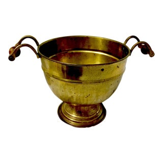 Mid-Century Brass Pedestal Planter, Cachepot or Bowl