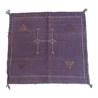 Purple Moroccan Wool Cactus Silk Pillow