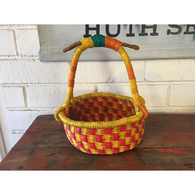 Handmade Basket Companies : Yellow red handmade african basket chairish