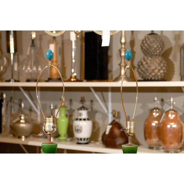 Mid-Century Green and Blue Glazed Lamps - Pair - Image 6 of 6