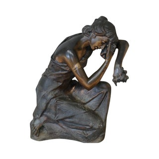 Antique Bronze Garden Statue of Weeping Woman Signed Chirico