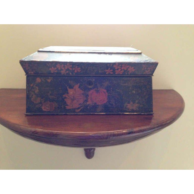 Painted English Victorian Tea Caddy with Original Fittings and Lined in Velvet - Image 3 of 8