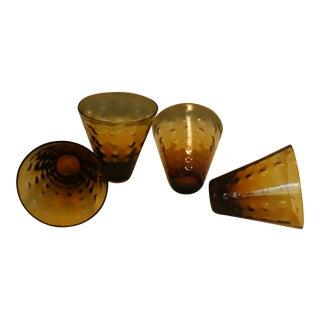 Mid-Century Polka Dot Textured Amber Cocktail Glasses - Set of 4