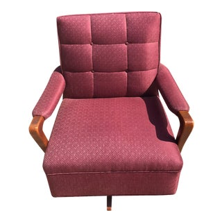 Mid-Century Maroon Swivel Chair