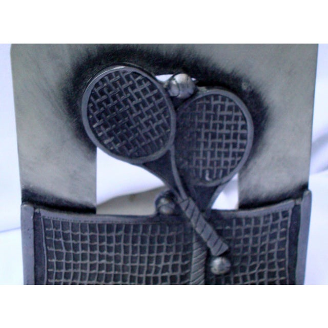 Image of Vintage Silver Metal Tennis Bookends