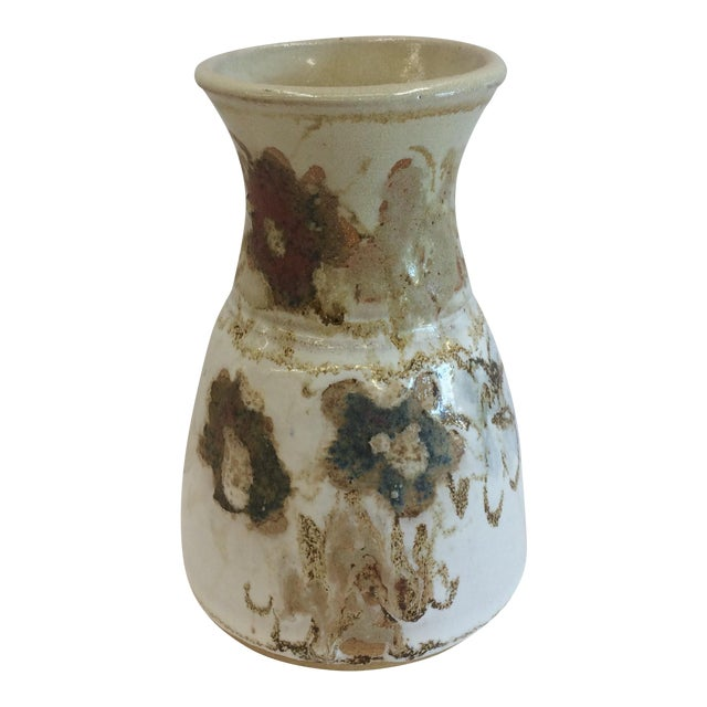 Abstract Floral Design Studio Pottery Vase - Image 1 of 7