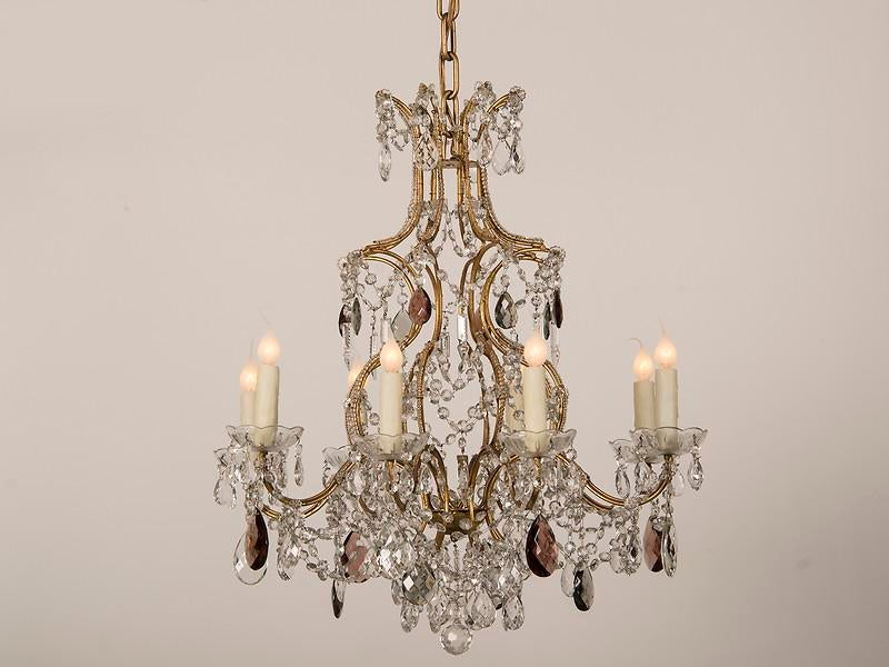 Lovely Gustavian Style Purple Grey And Clear Crystal