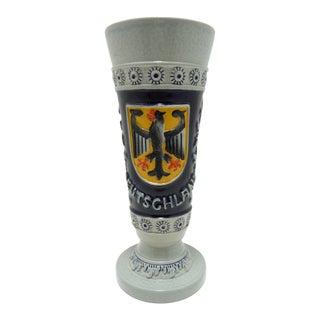 Vintage German Stoneware Pottery Vase ~ Shield With Eagle Design