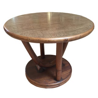 70's Round Bamboo Ficks Reed Accent Table