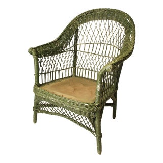 Green Wicker Accent Chair