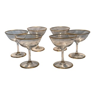 Vintage Hand Blown Glass Coupes - Set of 6