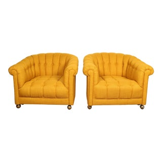 Yellow Modern Club Chairs - A Pair