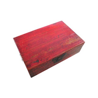 Chinese Antique Red Painted Trunk Box