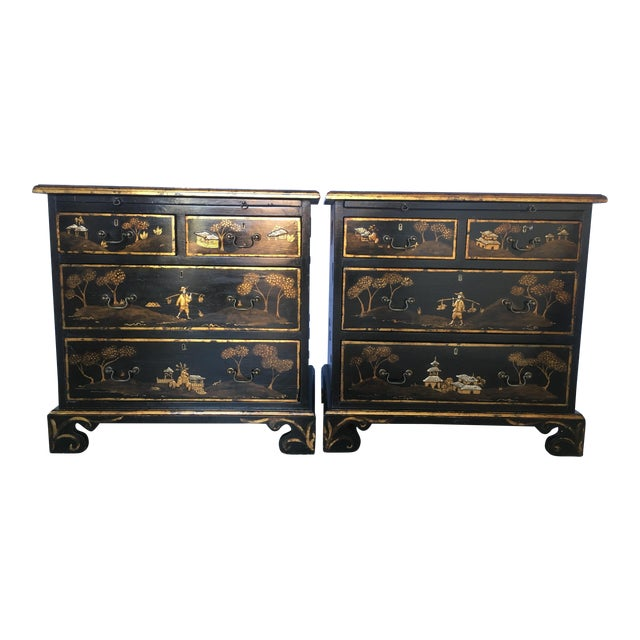 Image of Tete De Negre Chinoiserie Bedside Chest (Pair)