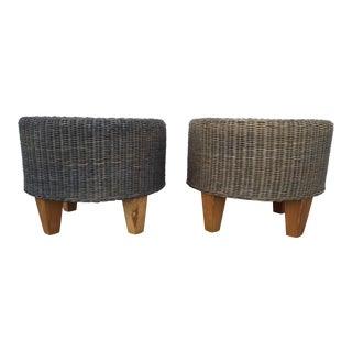 Vintage Wicker & Wood Ottomans - A Pair
