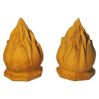Flame Architectural Finials - A Pair