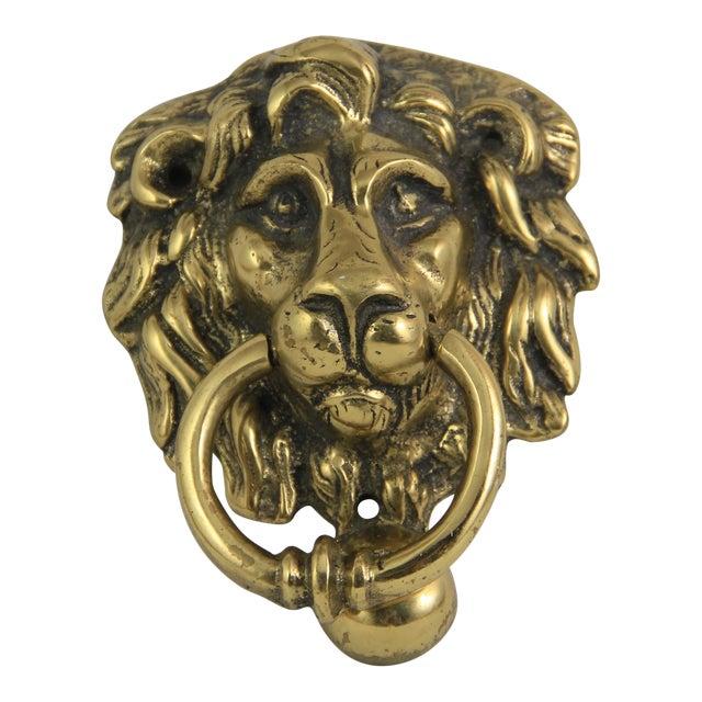Antique brass lion head door knocker chairish - Lion head brass door knocker ...