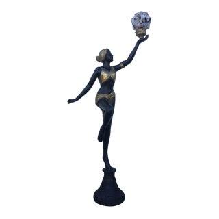 Art Deco Brass Figural Floor Lamp